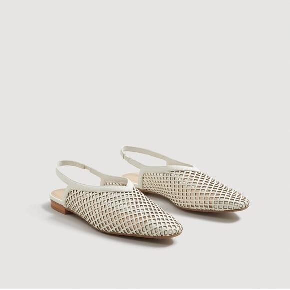 Mango Laser-cut sling back shoes